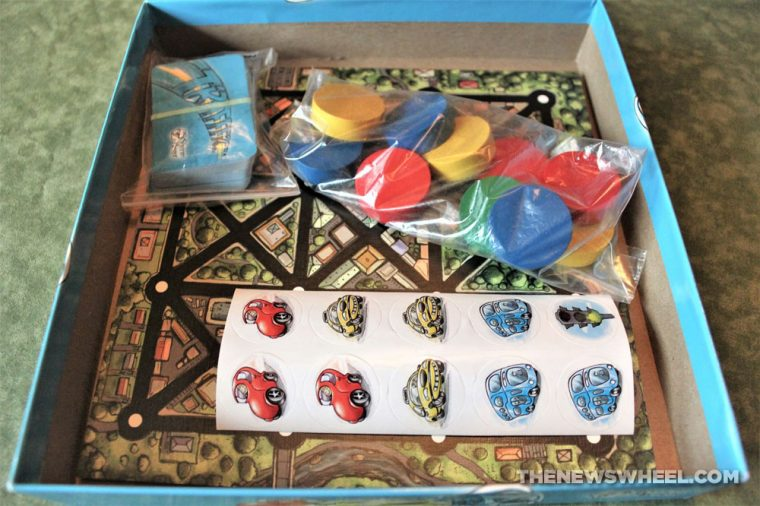 Traffic board game review matching color cars Scorpion Masque box