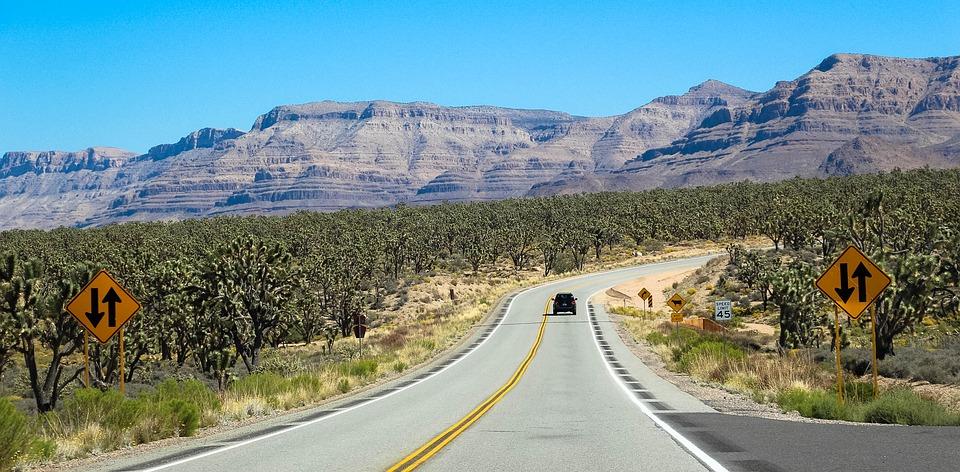 desert road mountains