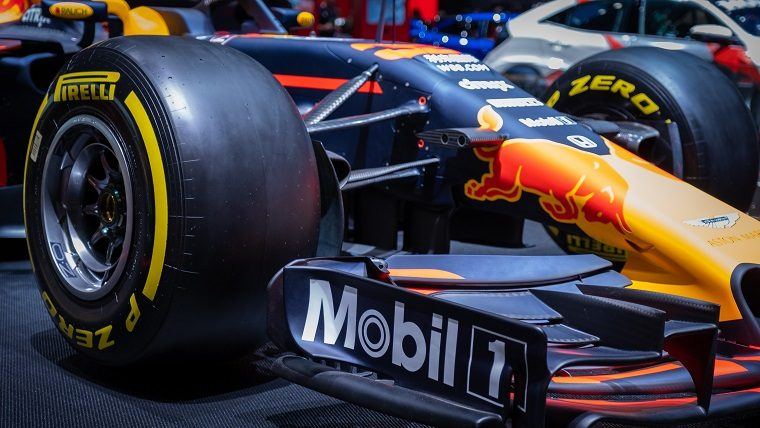 Closeup of Red Bull F1 and tire