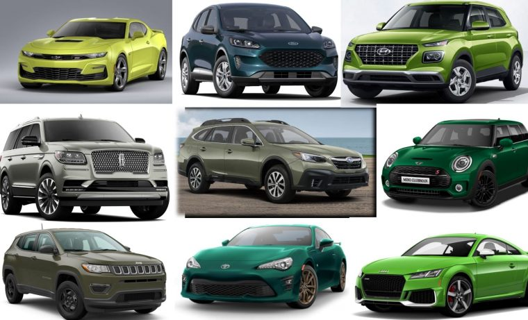 2020 green car colors body paint collage
