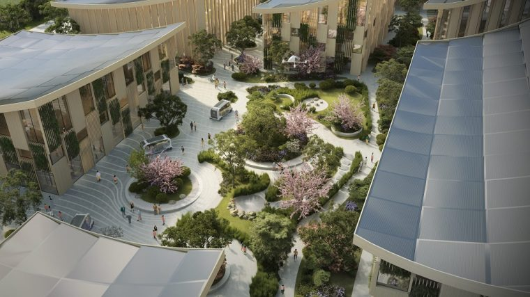 Courtyard in Toyota's city of the future prototype, Woven City