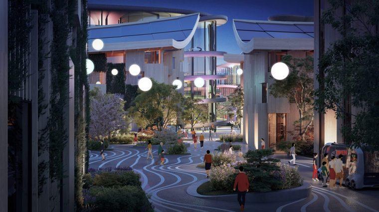 Plaza of Toyota's city of the future prototype, Woven City