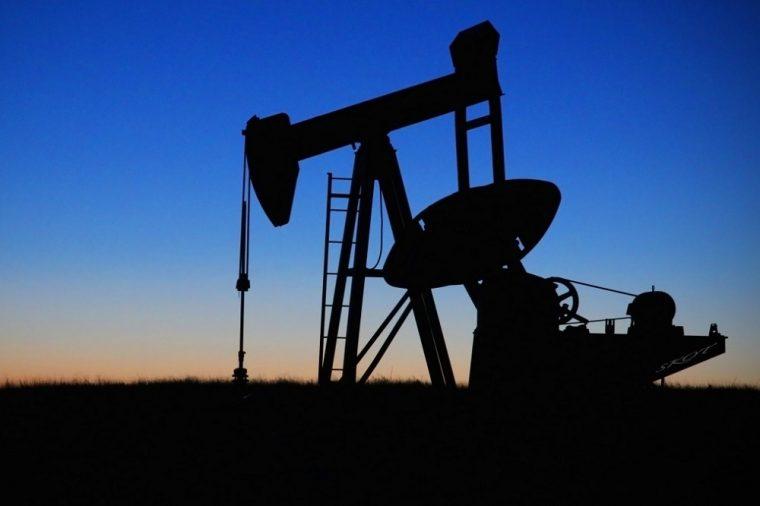 oil drilling sunset