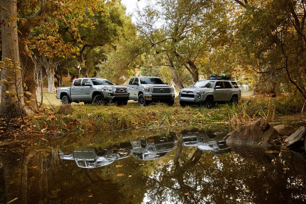 New Toyota special edition models: Tacoma Trail, Tundra Trail, and 4Runner Trail from left to right