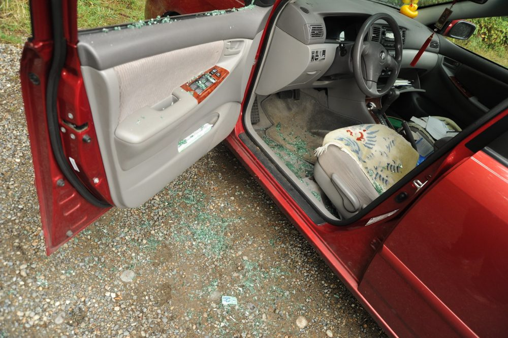 broken glass car broken into
