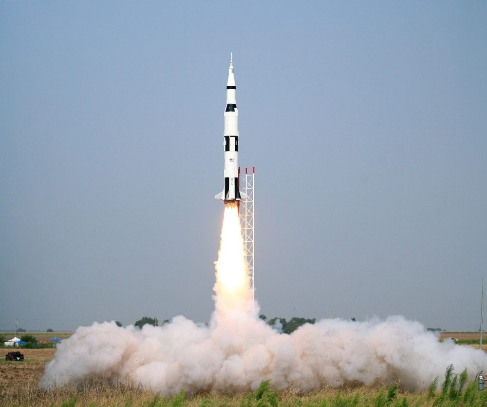 A Saturn V Rocket, much like Apollo 13, taking off