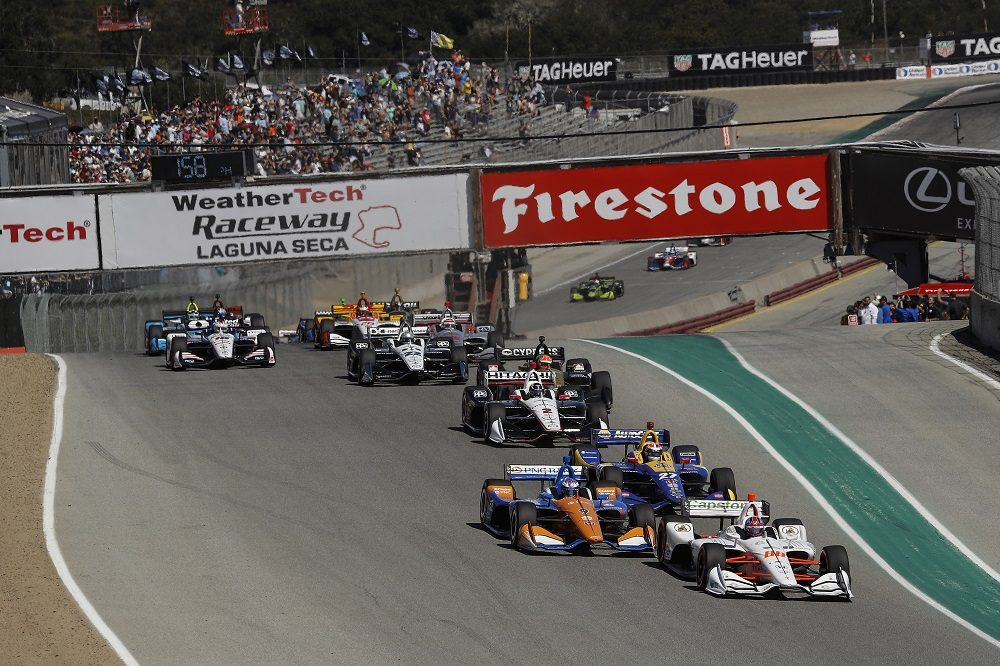 Honda's Colton Herta leads the 2019 IndyCar finale at Laguna Seca