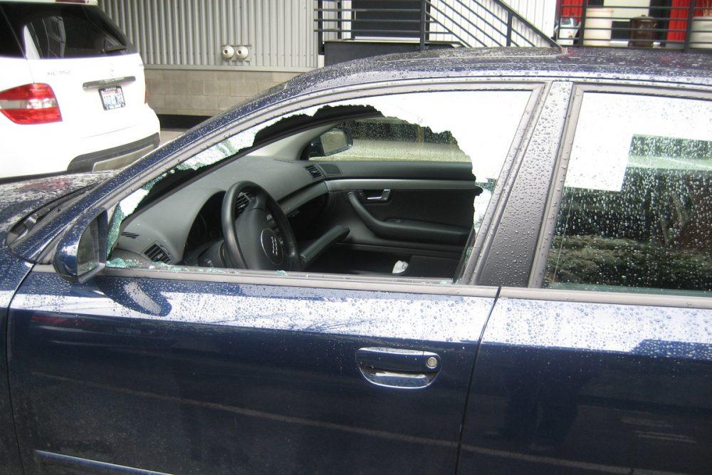Car Break In Broken Window Glass Shattered