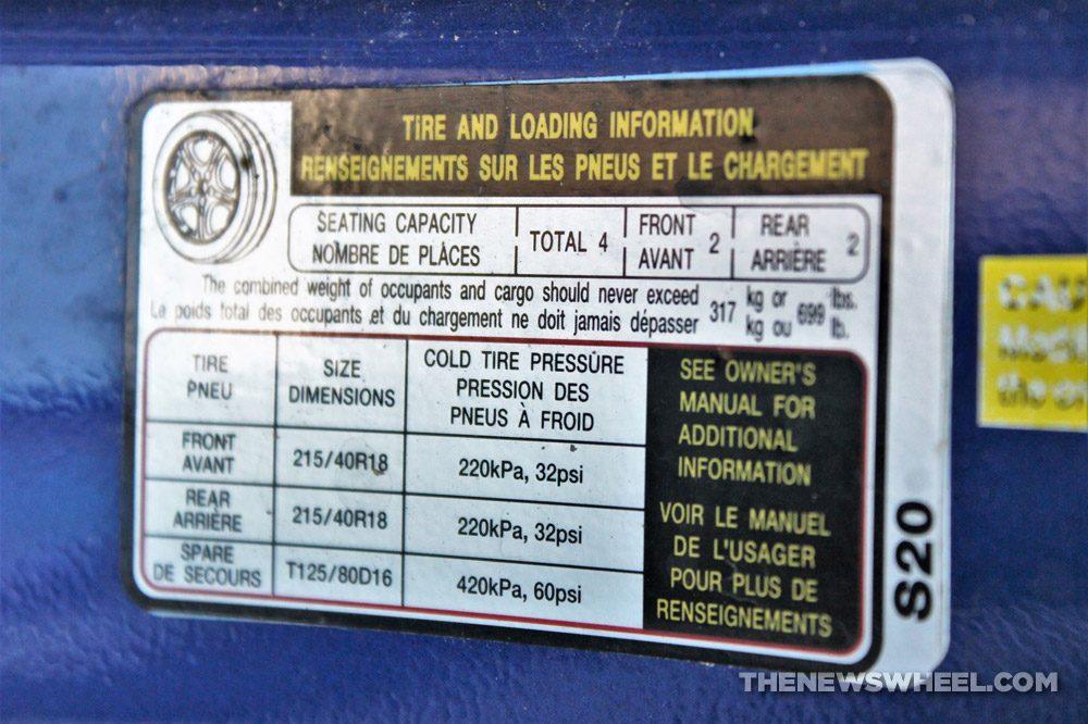 Car door jamb sticker placard label information tire loading information