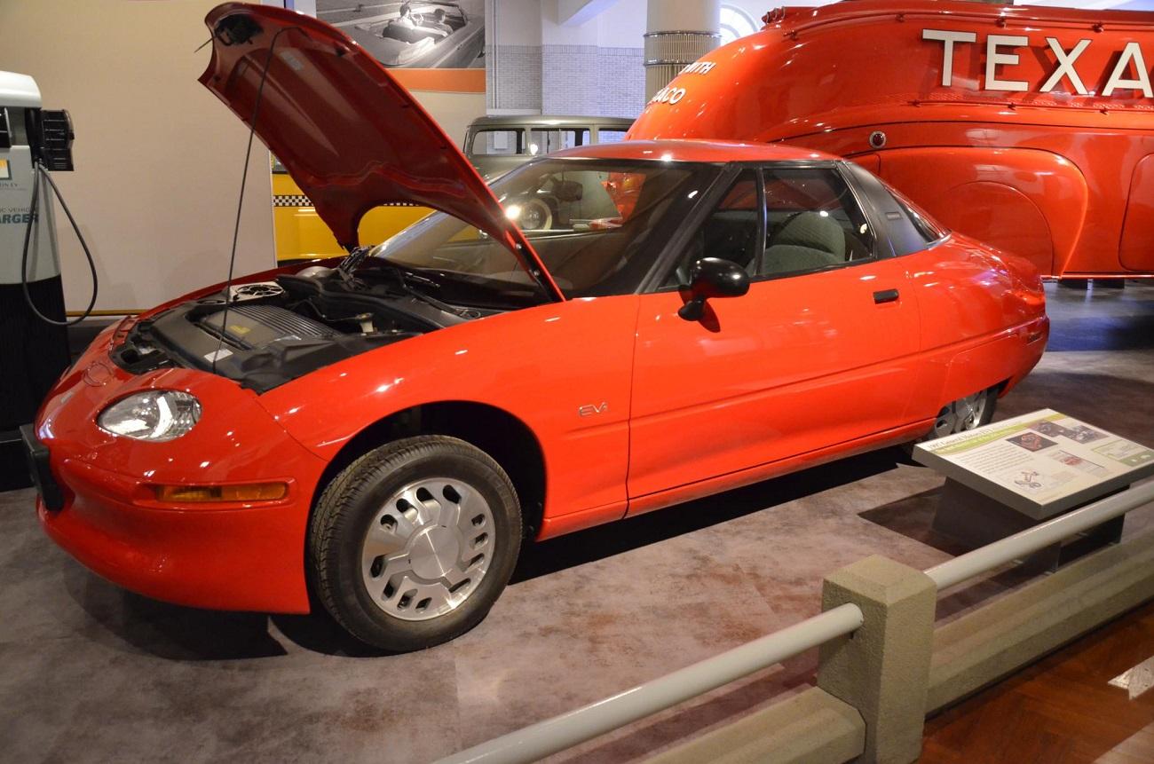 An orange GM EV1