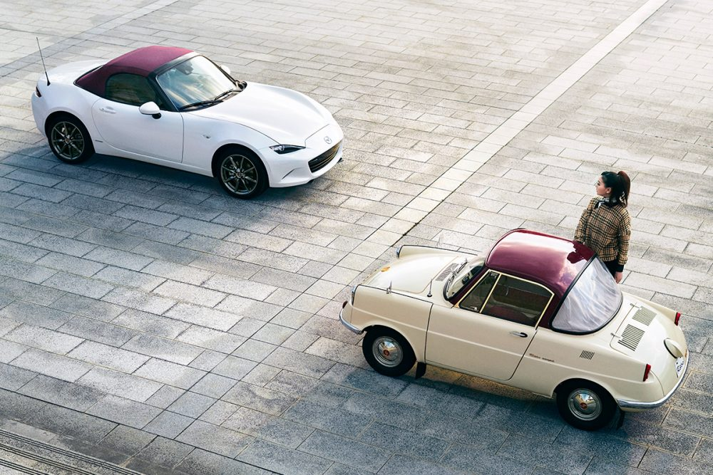 Mazda 100th Anniversary Special Edition Model faces off against a classic car.