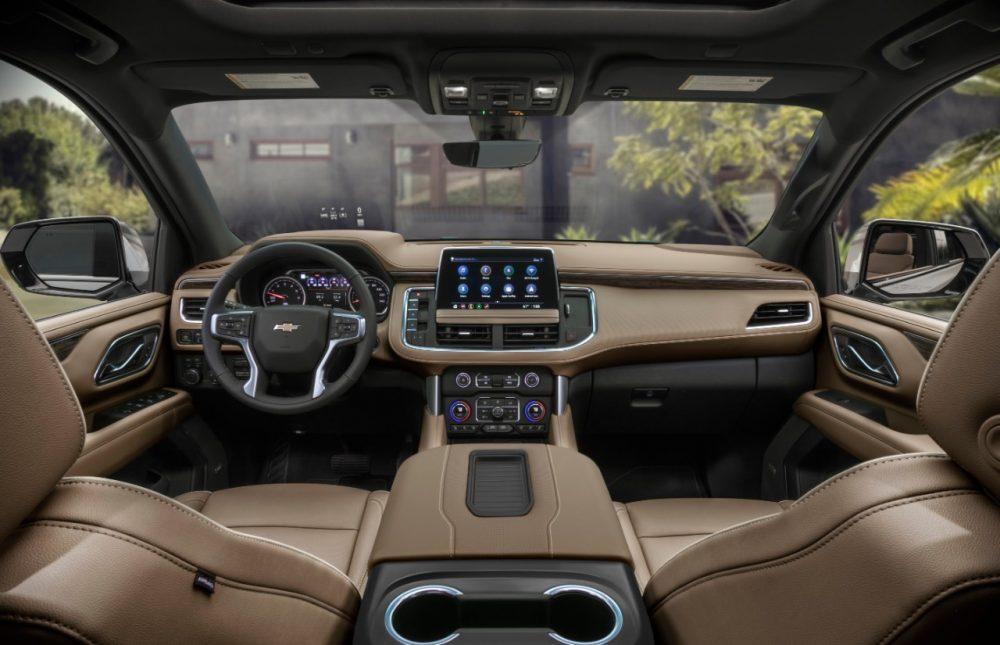 The interior of the 2021 Chevrolet Suburban. The Suburban Texas Edition.