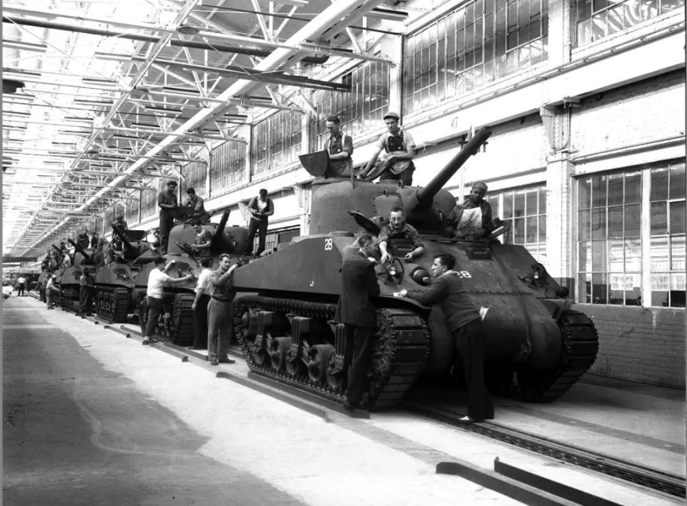 Ford Highland Park Assembly Plant Building M4 Tanks WWII