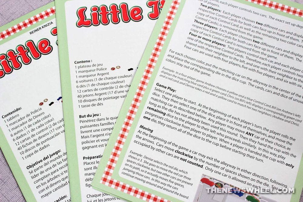 Little Italy review Reiner Knizia Playroom 2007 Italian mobster racing board game funny family instructions directions