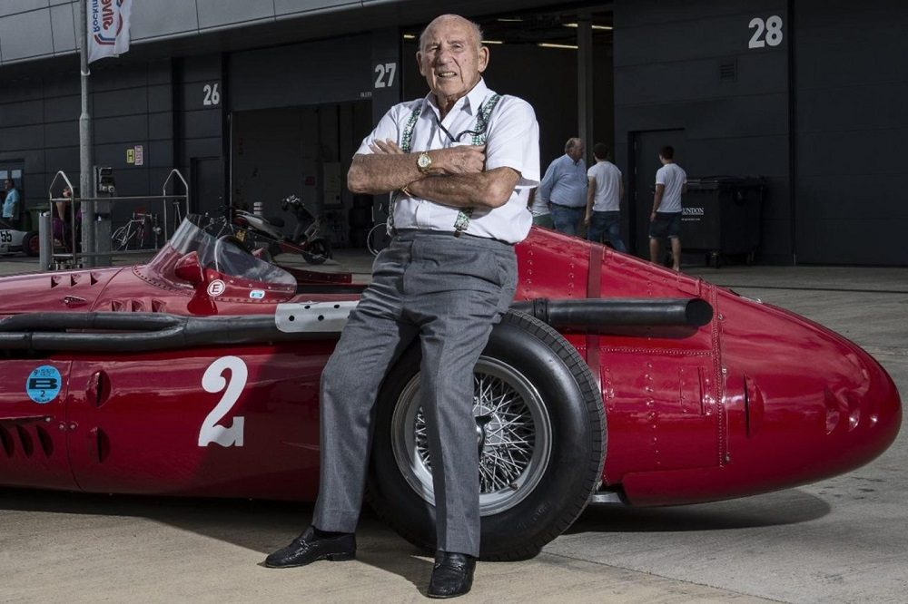 Old Sir Stirling Moss with Maserati 250F
