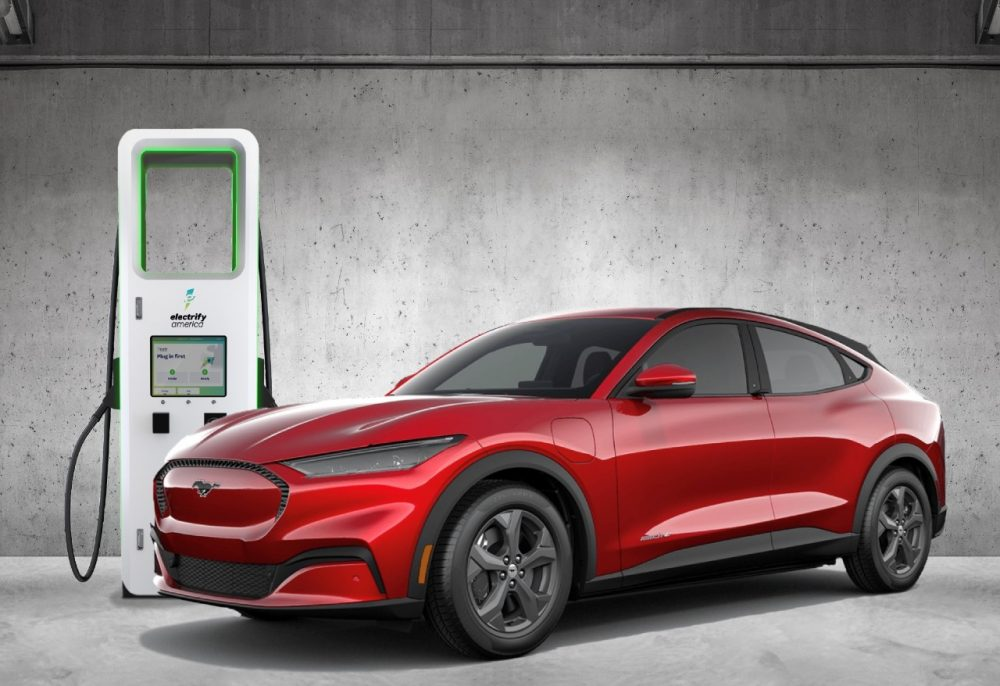 2021 Ford Mustang Mach-E Electrify America fast-charging station