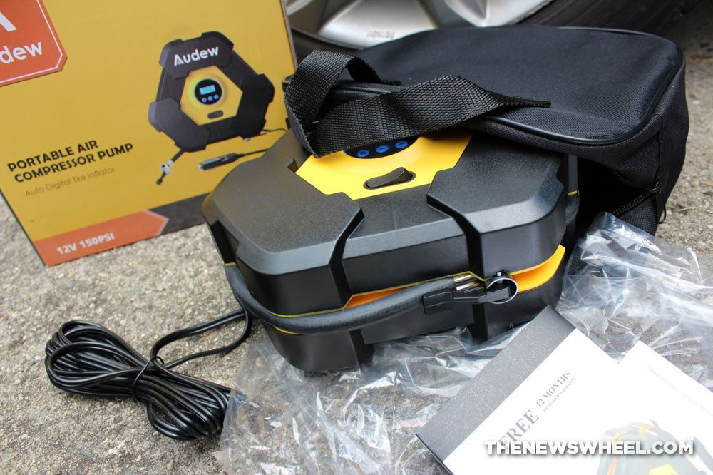 Audew portable air compressor pump review digital tire inflator packaging bag