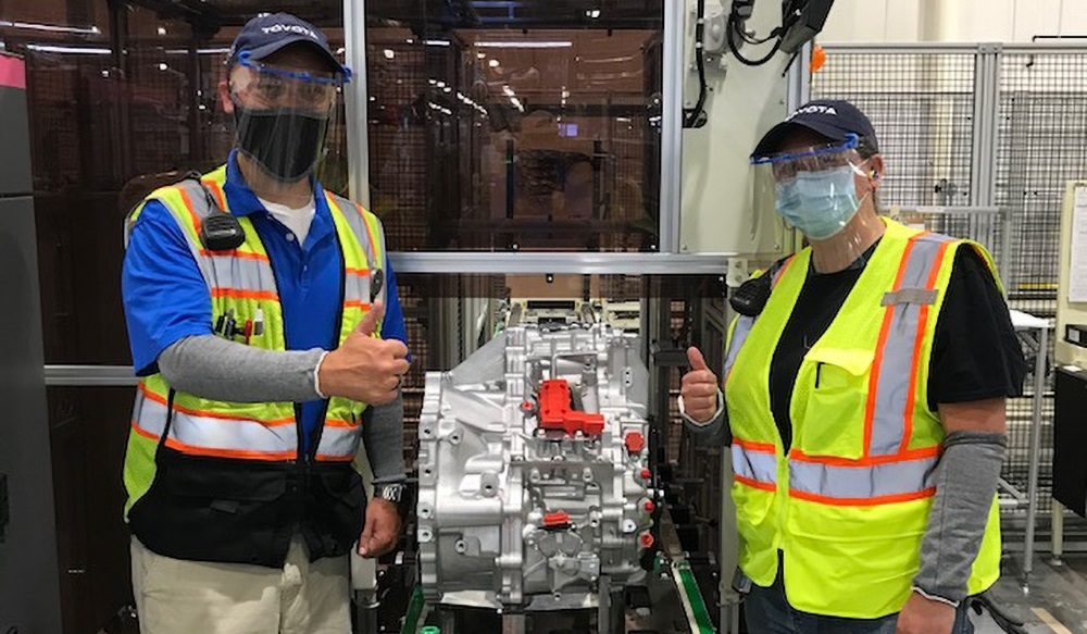 Toyota West Virginia employees with first transaxle