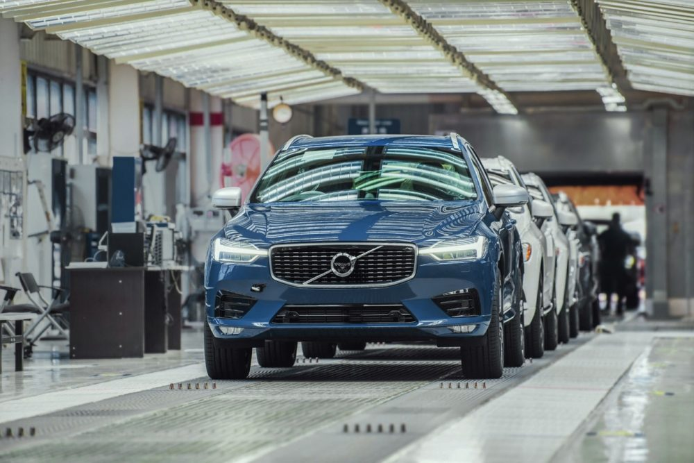 A Volvo assembly line, much like the ones where the automaker builds plug-in models