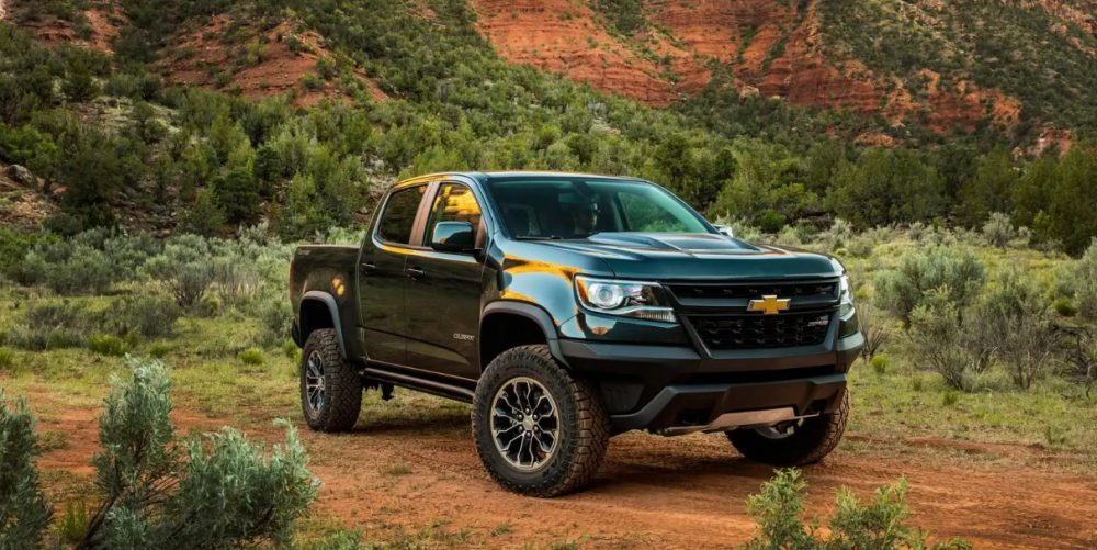 Front side view of 2021 Chevrolet Colorado on dirt path