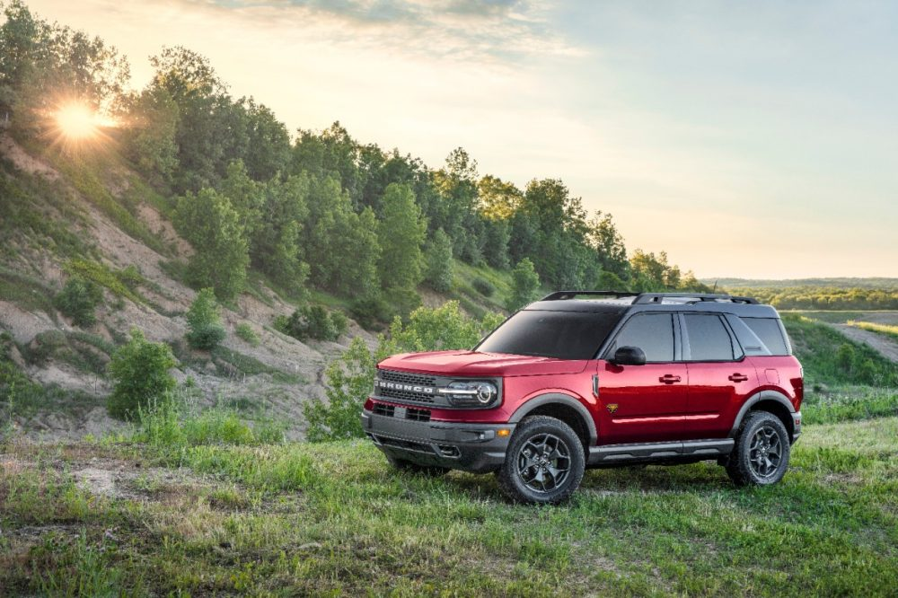 2021 Ford Bronco Sport parked on a grassy hill