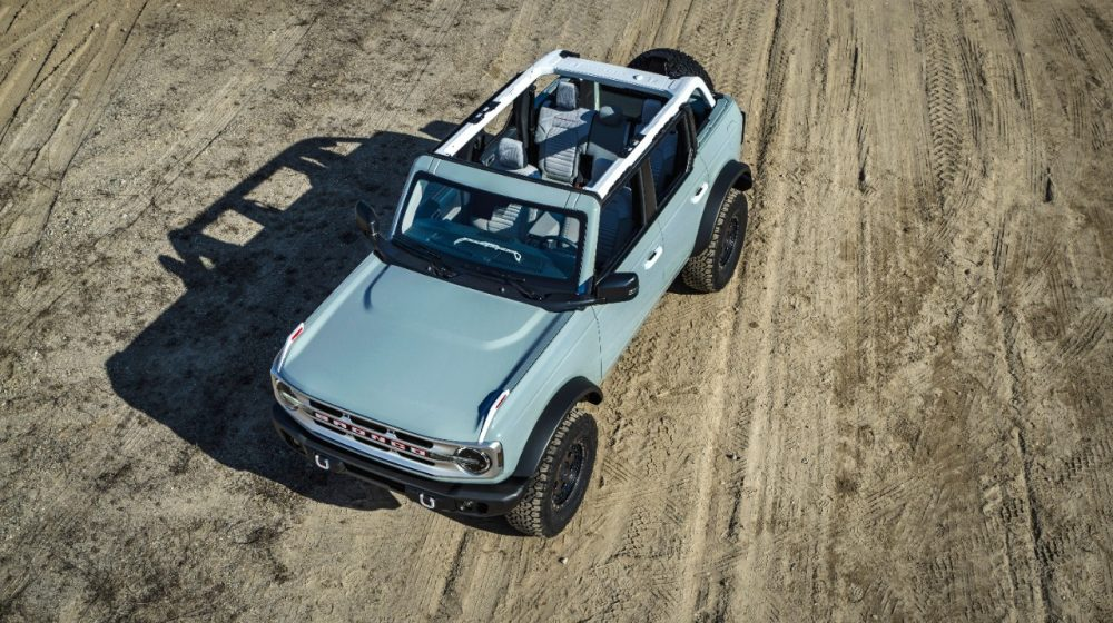 2021 Ford Bronco four-door with the roof removed from a high angle