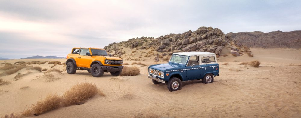 2021 Ford Bronco with vintage Ford Bronco