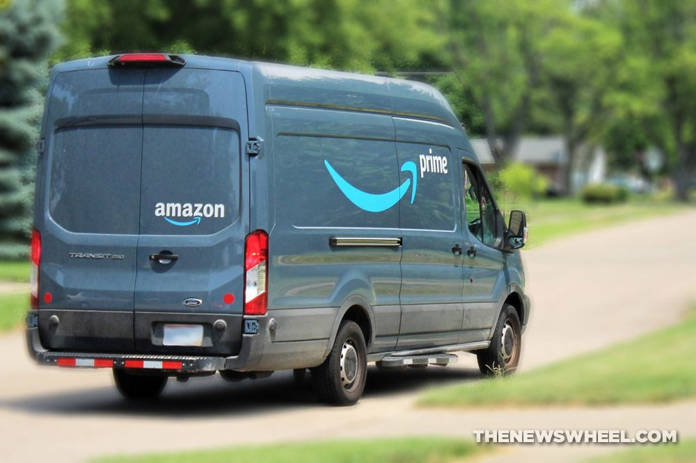 Amazon Prime delivery van mail shipment driver
