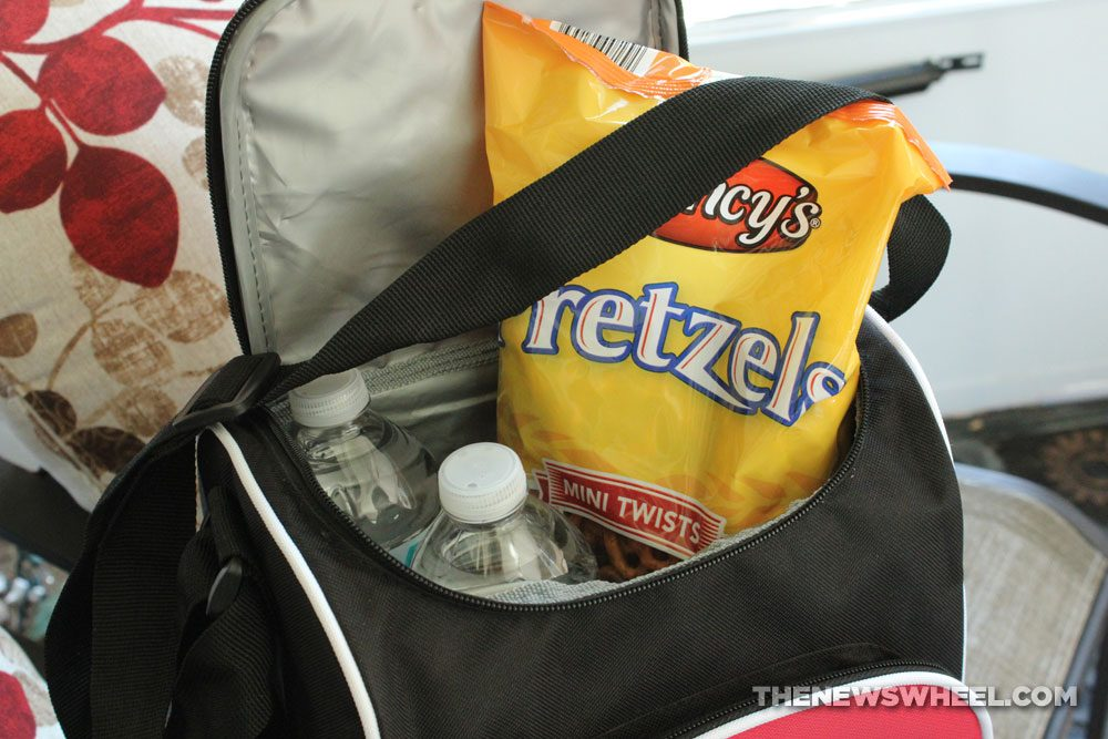 snacks lunch bag drinks water