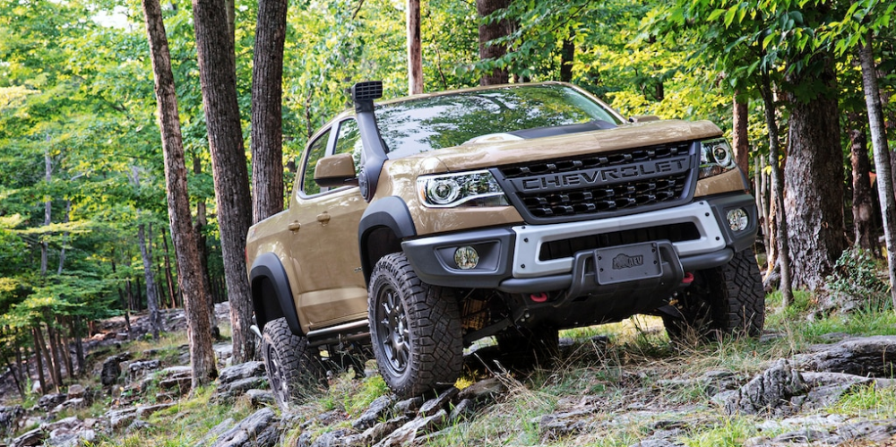 2021 Chevrolet Colorado parked off-road in a forest