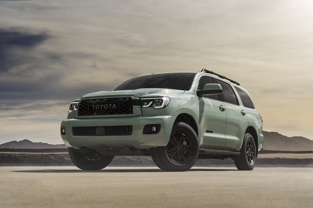2021 Toyota Sequoia (Lunar Rock) front+side