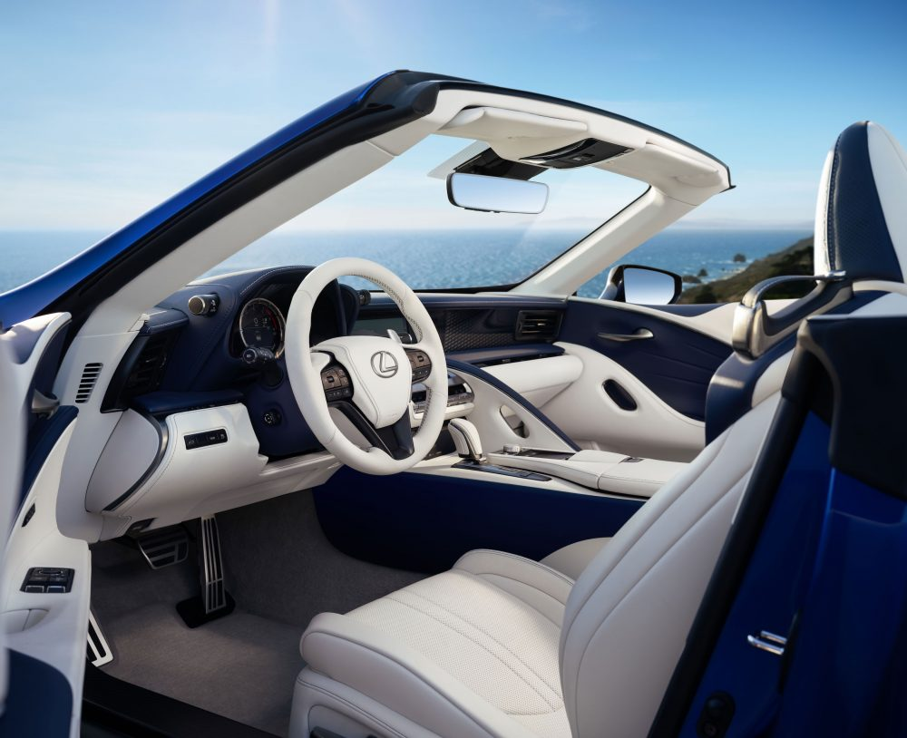 2021 Lexus LC 500 Convertible interior dashboard with top down