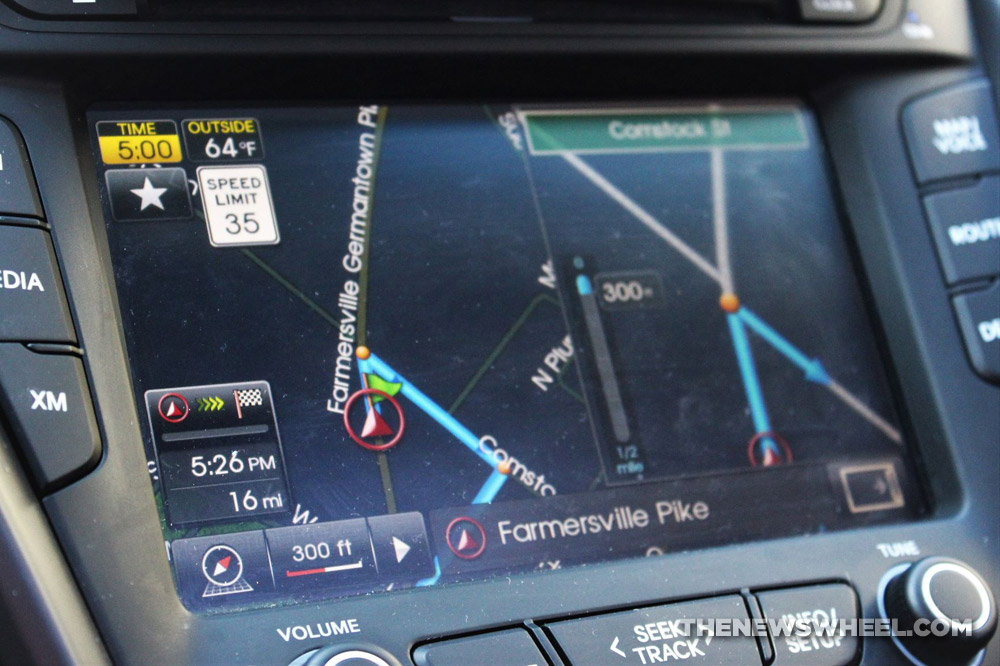 GPS driving route directions map on car infotainment screen
