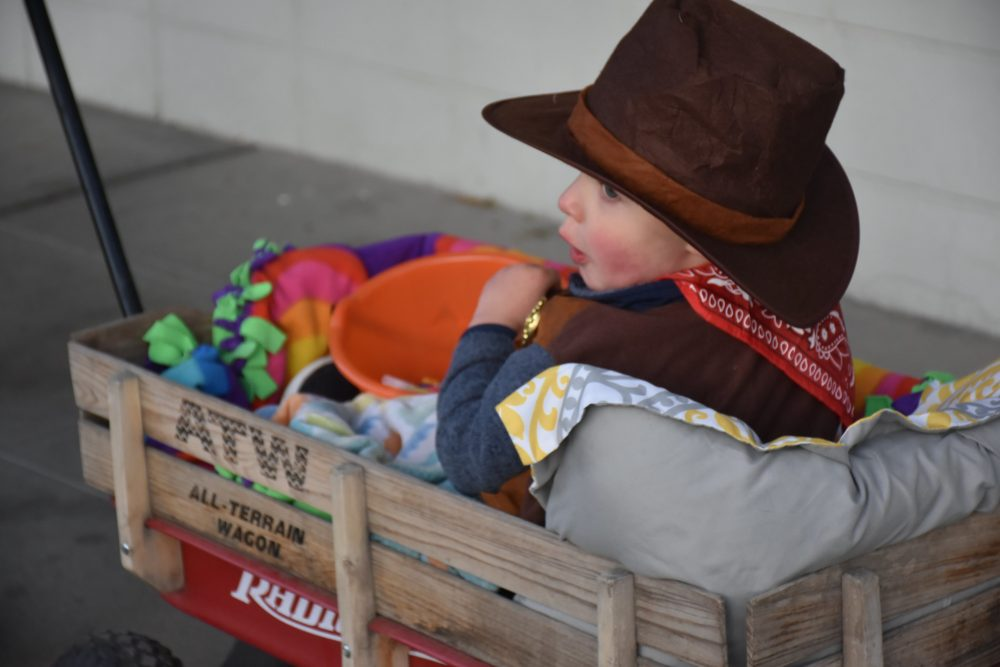 Halloween costume trick or treat cowboy child wagon