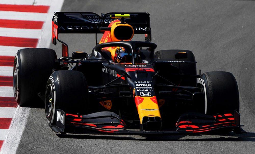 Albon driving Red Bull Honda in Spain
