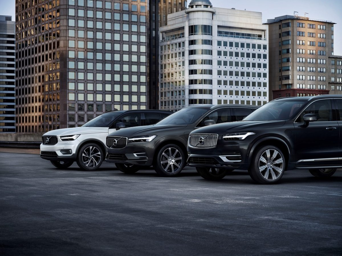 A line of Volvo vehicles, all of which contributed to a year-over-year sales increase in July 2020