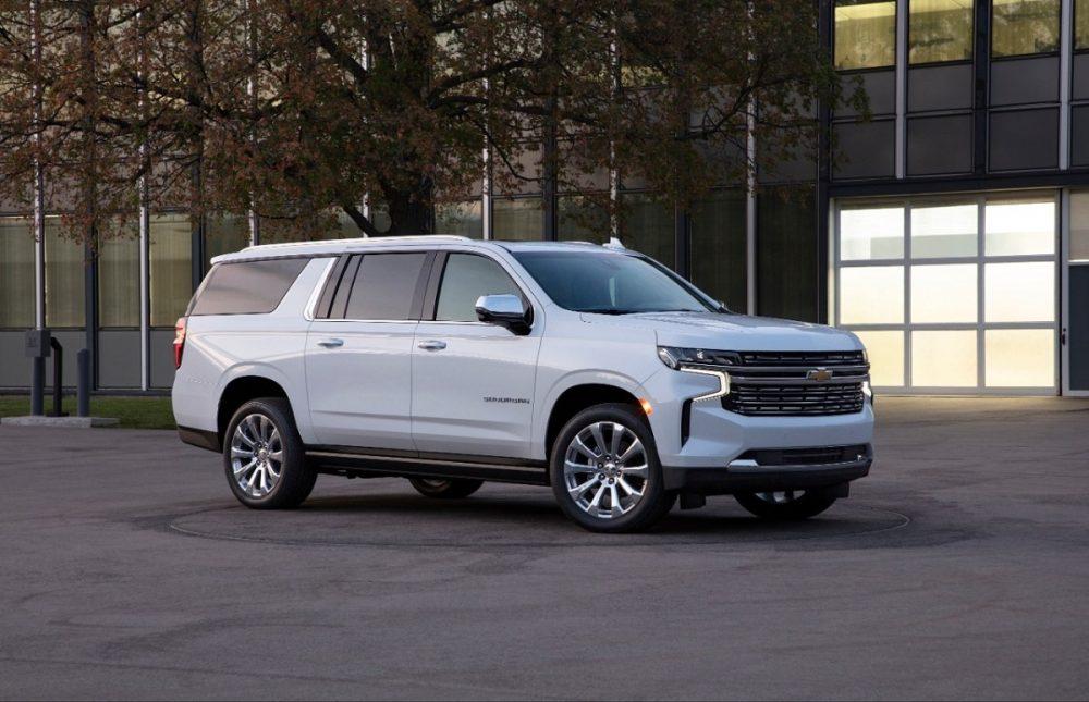 The 2021 Chevrolet Suburban on the street