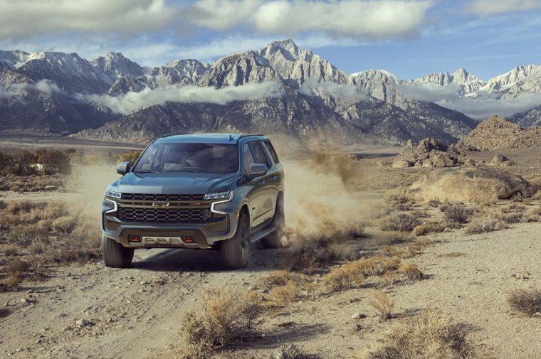 2021 Chevrolet Tahoe on rocky terrains