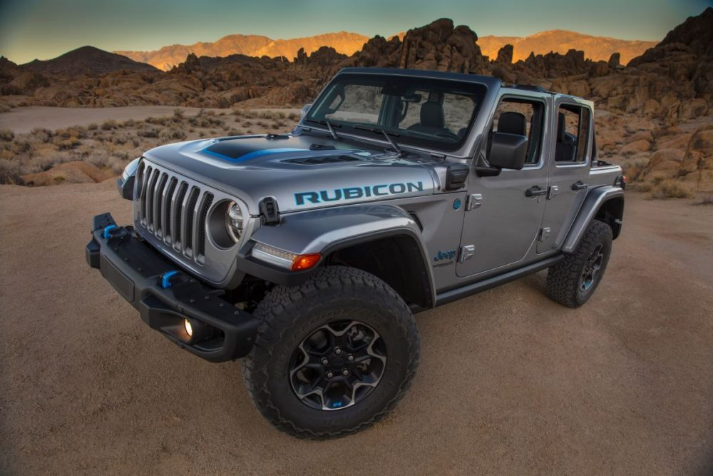 2021 Jeep Wrangler Rubicon 4xe in silver parked in the desert