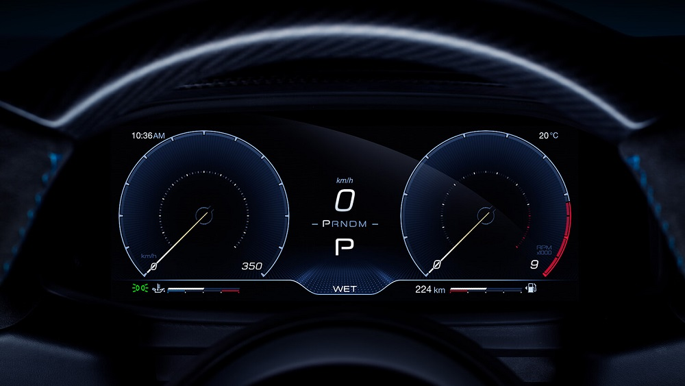2021 Maserati MC20 digital cluster