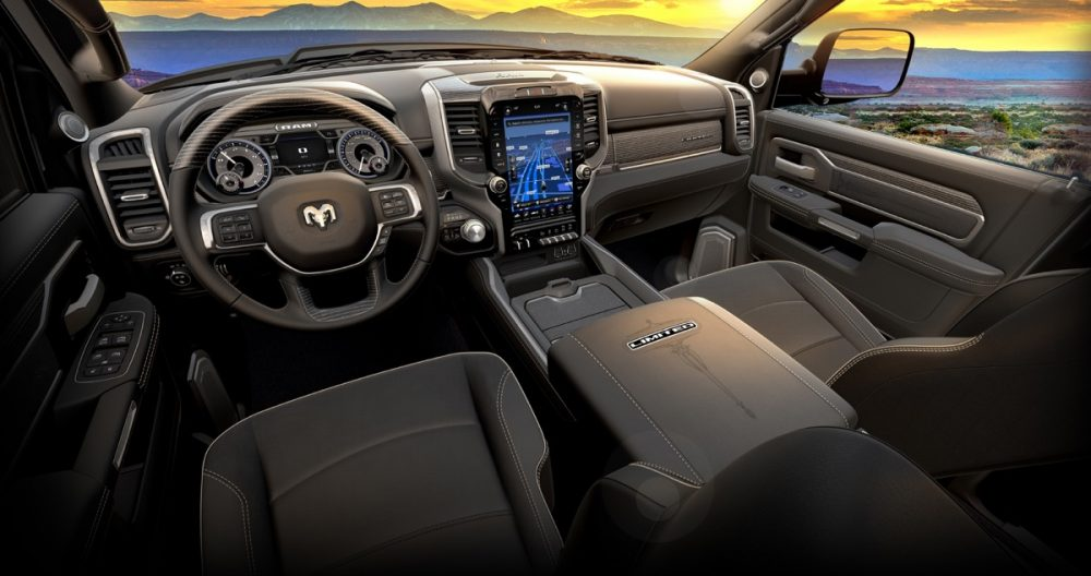 The cabin of the 2021 Ram Heavy Duty Limited Night Editions