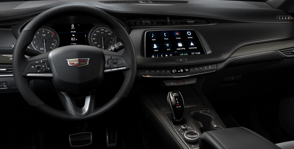 The dashboard and infotainment system of the 2021 Cadillac XT4
