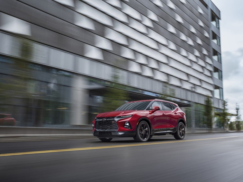 The 2021 Chevrolet Blazer driving in a city