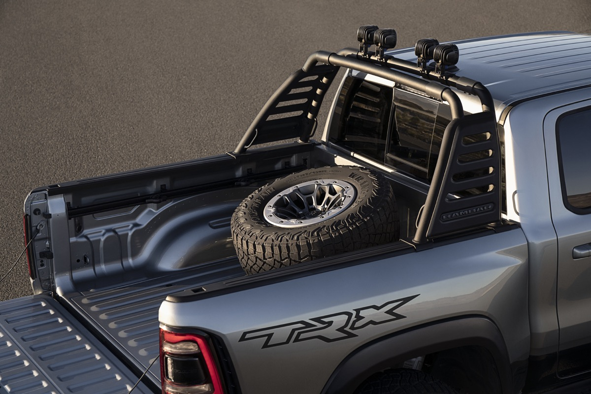 2021 Ram 1500 TRX with the RamBar and spare-tire carrier accessories