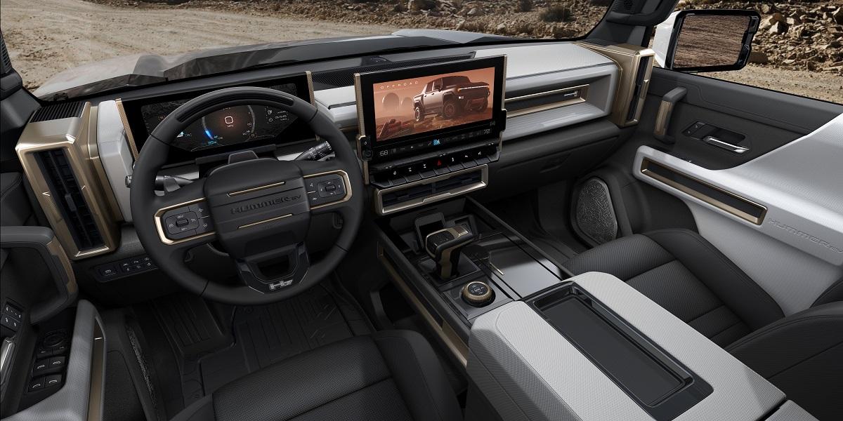 2022 GMC Hummer EV's infotainment screen, which features Google Infotainment software.