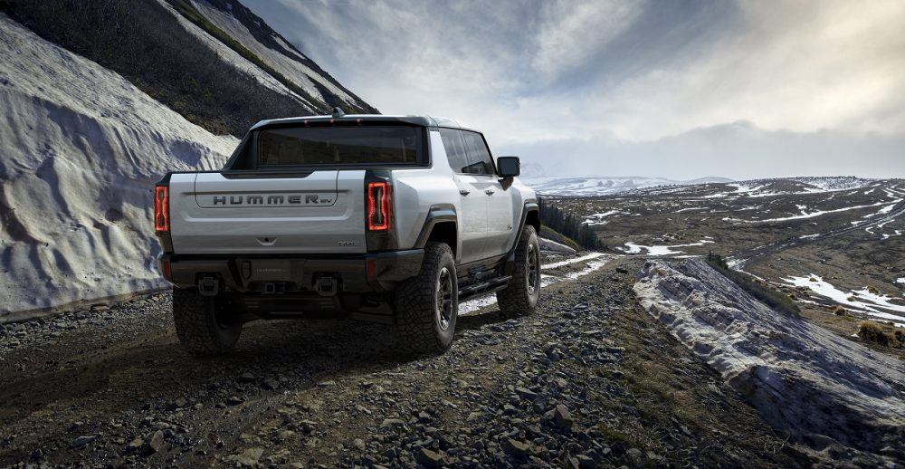 The 2022 GMC Hummer EV on a snowy mountain