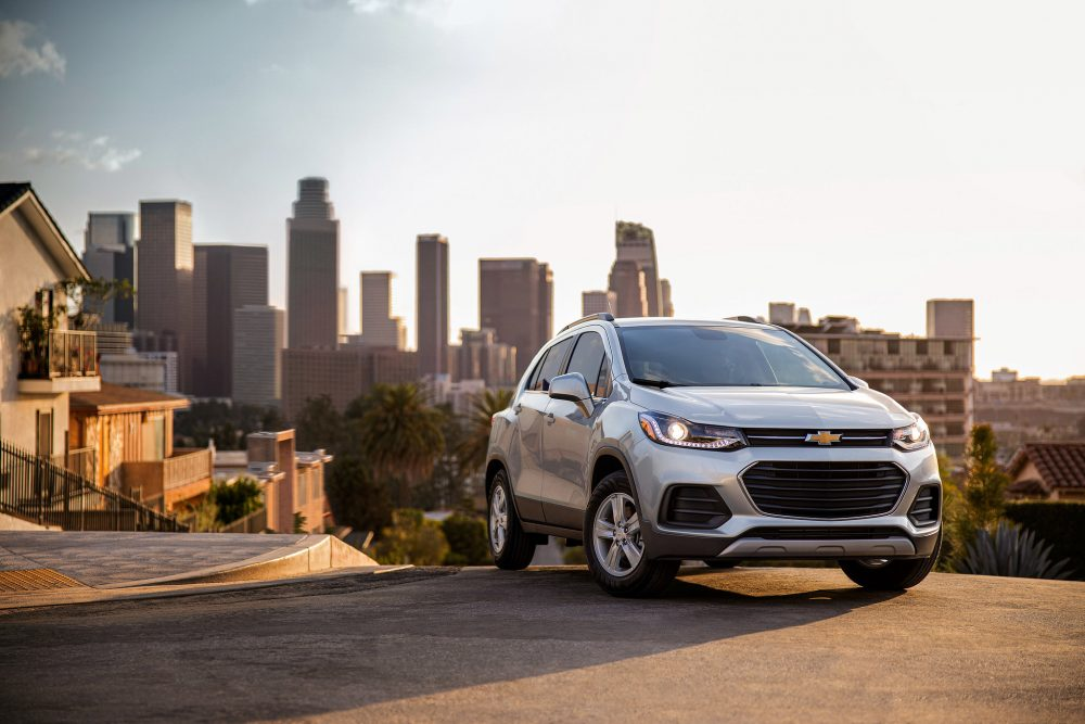 2021 Chevrolet Trax LT in front of a city skyline