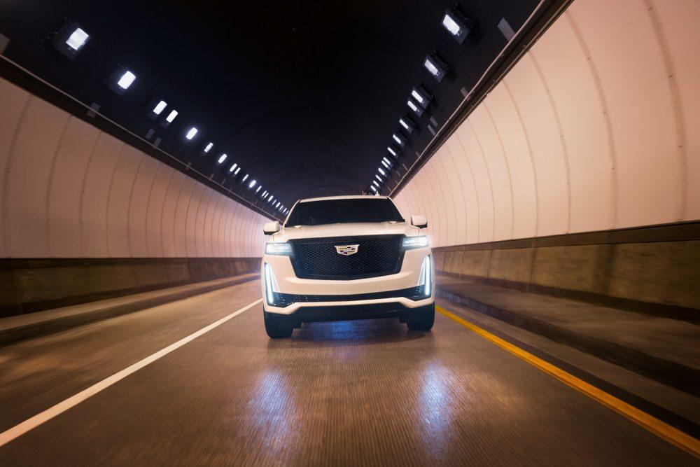 2021 Cadillac Escalade driving through a tunnel