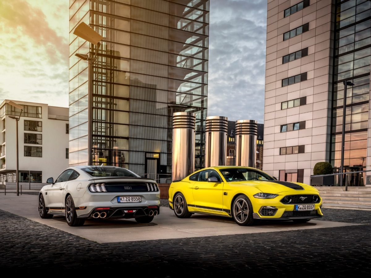 Ford Mustang Mach 1 Fighter Jet Gray and Grabber Yellow Goodwood