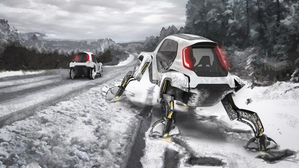 Image of Hyundai robotic car walking in snow